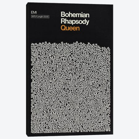 Bohemian Rhapsody By Queen Lyrics Print Canvas Print #RNH55} by Reign & Hail Canvas Artwork