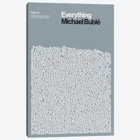 Everything By Michael Buble Lyrics Print Canvas Print #RNH59} by Reign & Hail Art Print