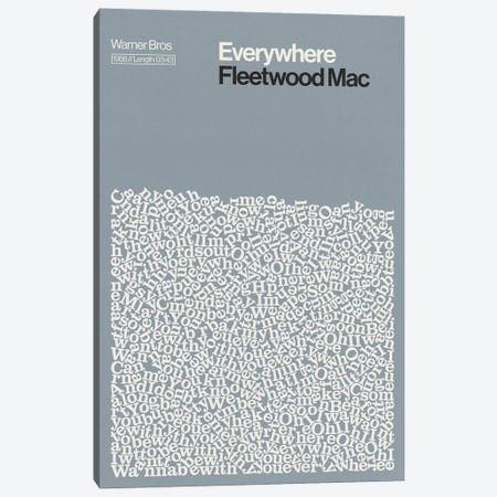 Everywhere By Fleetwood Mac Lyrics Print Canvas Print #RNH60} by Reign & Hail Canvas Wall Art