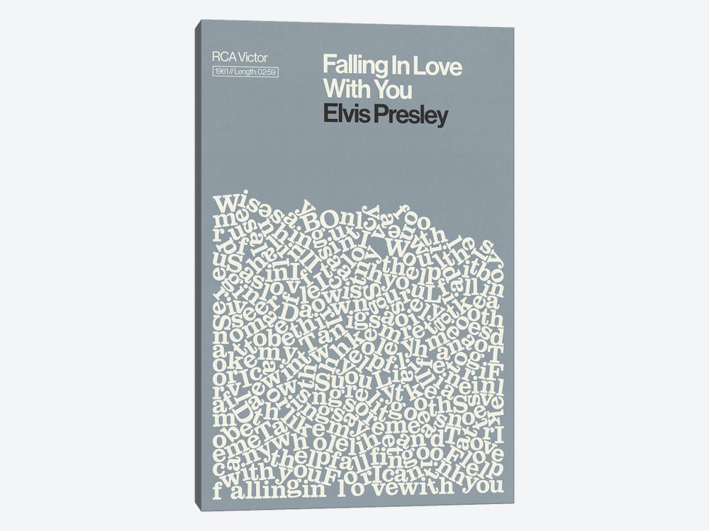 Falling In Love With You By Elvis Presley Lyrics Print by Reign & Hail 1-piece Canvas Wall Art
