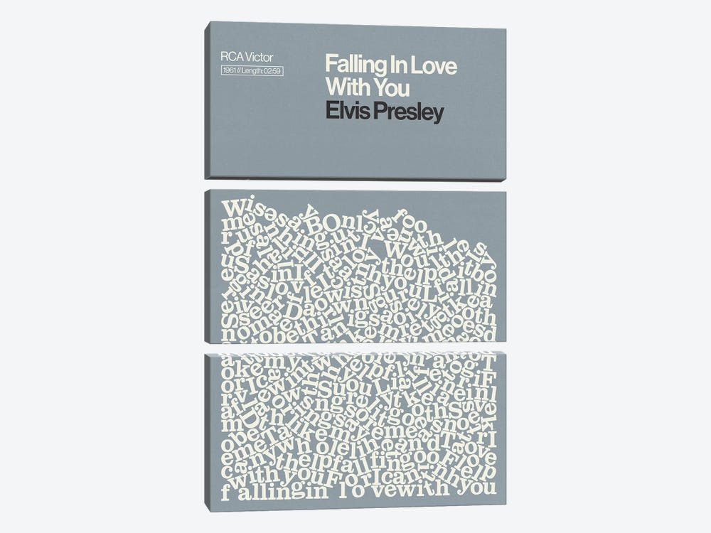 Falling In Love With You By Elvis Presley Lyrics Print by Reign & Hail 3-piece Canvas Wall Art