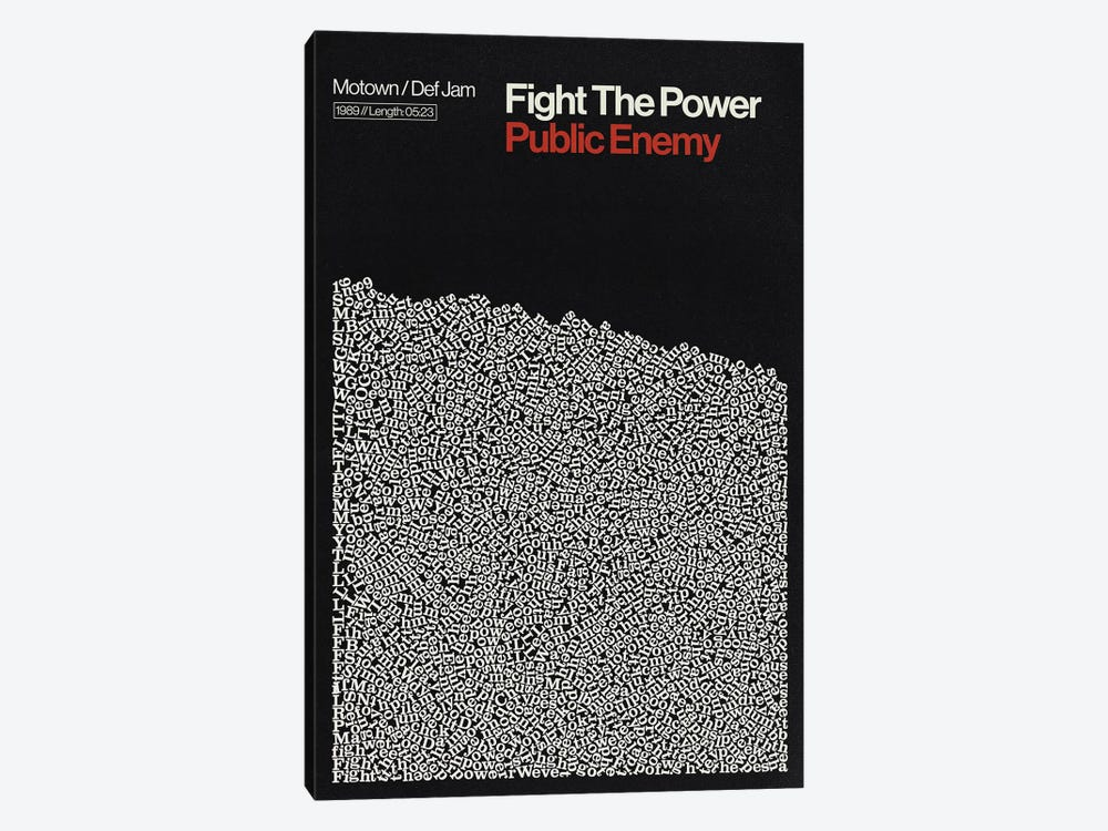 Fight The Power By Pubic Enemy Lyrics Print by Reign & Hail 1-piece Canvas Print