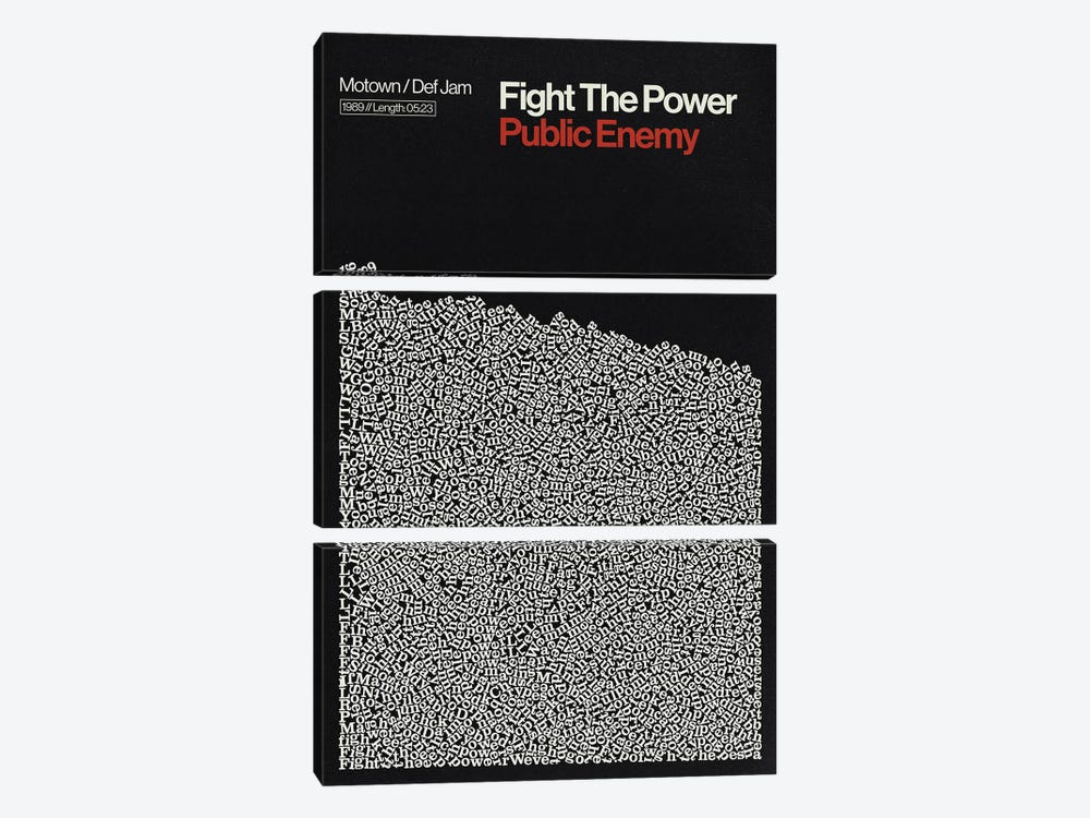 Fight The Power By Pubic Enemy Lyrics Print by Reign & Hail 3-piece Canvas Art Print