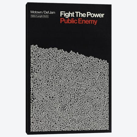 Fight The Power By Pubic Enemy Lyrics Print Canvas Print #RNH62} by Reign & Hail Canvas Wall Art