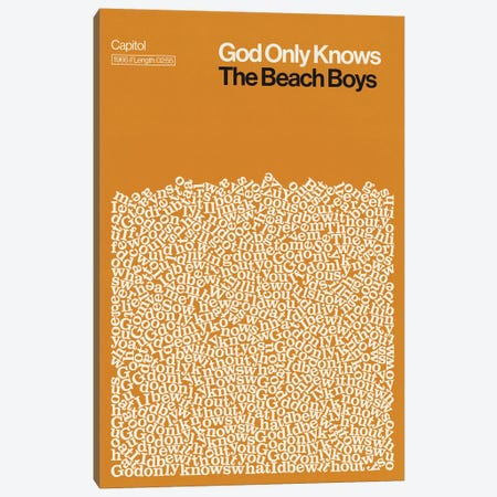God Only Knows By The Beach Boys Lyrics Print Canvas Print #RNH63} by Reign & Hail Canvas Artwork