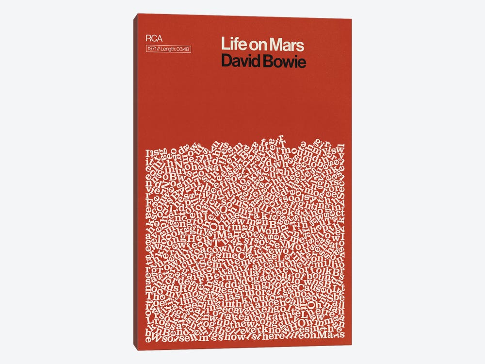 Life On Mars By David Bowie Lyrics Print by Reign & Hail 1-piece Canvas Art Print