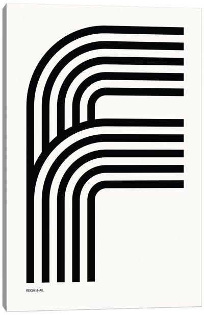 F Geometric Letter Canvas Art Print