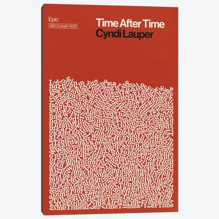 Time After Time By Cyndi Lauper Lyrics Print Canvas Print #RNH77} by Reign & Hail Canvas Artwork