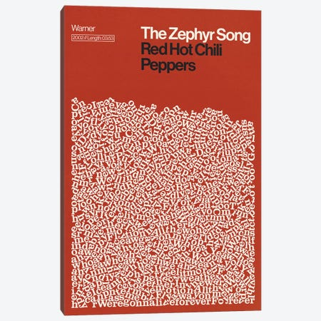 Zephyr Song By Red Hot Chili Peppers Lyrics Print Canvas Print #RNH80} by Reign & Hail Canvas Artwork