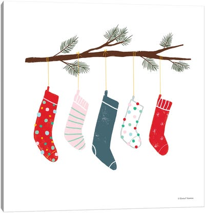 Playful Holiday Stockings Canvas Art Print