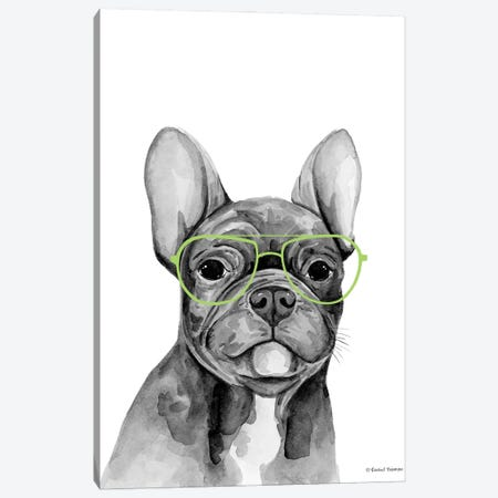 Smart Dog Canvas Print #RNI108} by Rachel Nieman Art Print