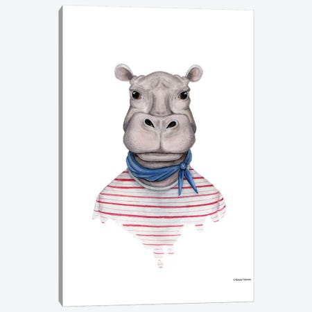 Hippo In Handkerchief Canvas Print #RNI10} by Rachel Nieman Canvas Wall Art