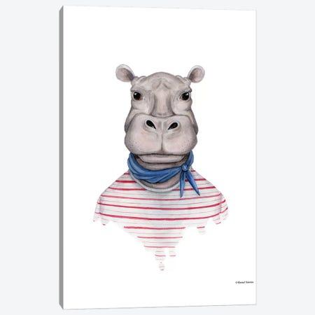 Hippo In Handkerchief Canvas Print #RNI10} by Rachel Nieman Canvas Wall Art