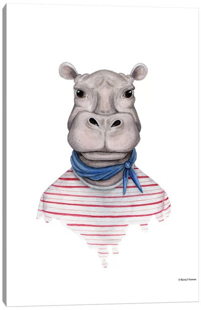 Hippo In Handkerchief Canvas Art Print