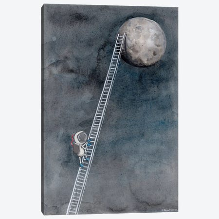 Ladder To The Moon 3-Piece Canvas #RNI15} by Rachel Nieman Canvas Art Print