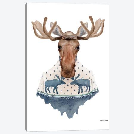 Moose In A Moose Sweater Canvas Print #RNI17} by Rachel Nieman Art Print