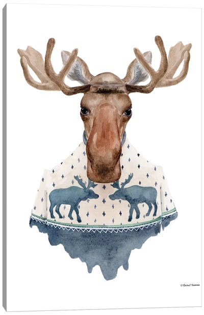 Moose In A Moose Sweater Canvas Art Print