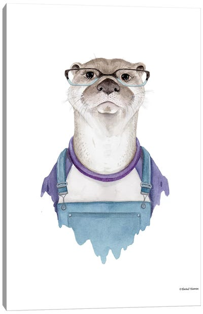 Otter In Overalls Canvas Art Print