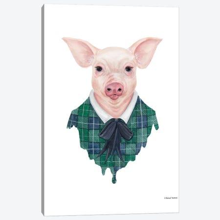Pig In Plaid Canvas Print #RNI20} by Rachel Nieman Canvas Print