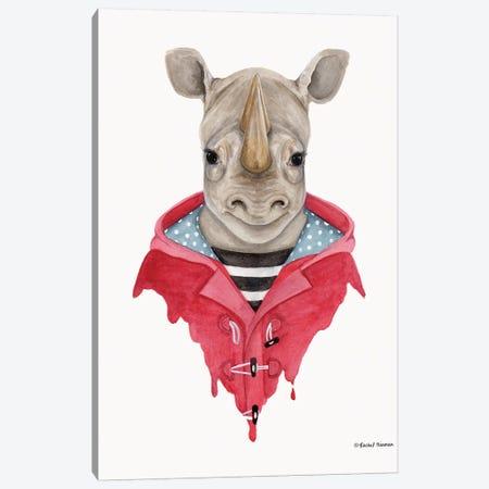 Rhino In A Raincoat Canvas Print #RNI22} by Rachel Nieman Canvas Art Print