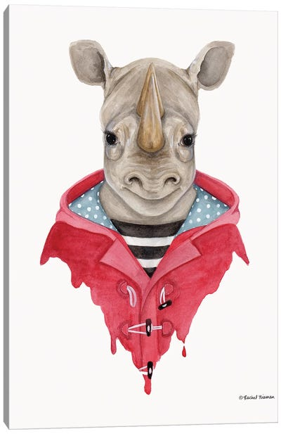 Rhino In A Raincoat Canvas Art Print