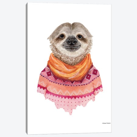 Sloth In A Sweater Canvas Print #RNI23} by Rachel Nieman Canvas Print