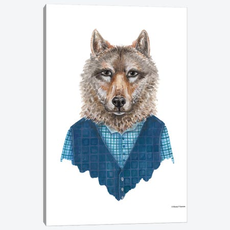 Wolf In Waistcoat Canvas Print #RNI27} by Rachel Nieman Canvas Artwork