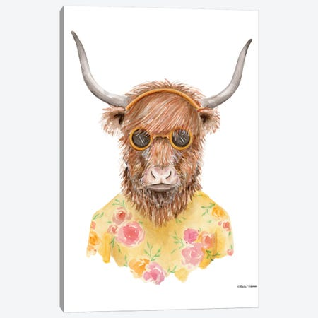 Yak In Yellow Canvas Print #RNI29} by Rachel Nieman Canvas Art Print