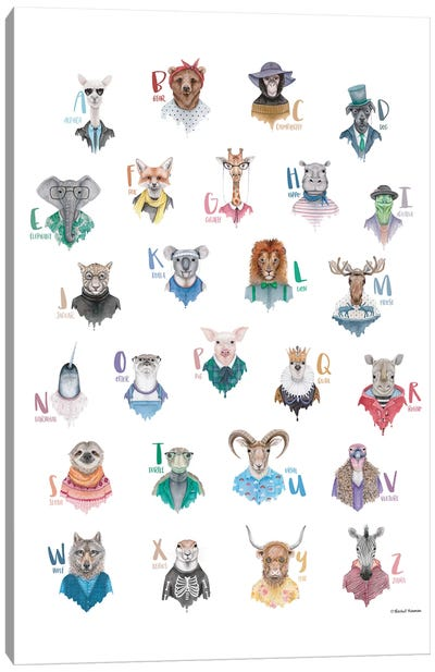 Animal Alphabet Poster Canvas Art Print