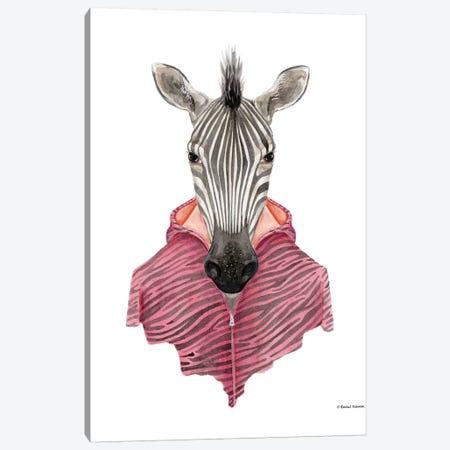 Zebra In A Zipup Canvas Print #RNI31} by Rachel Nieman Canvas Artwork