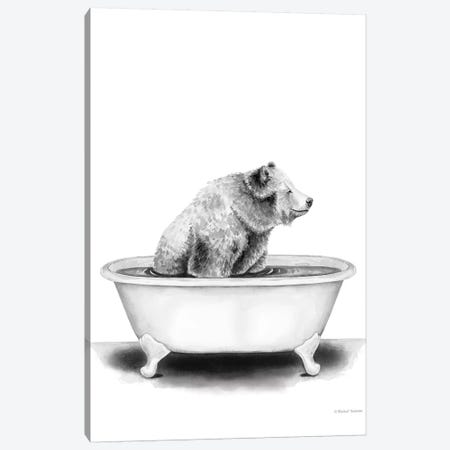 Bear in Tub Canvas Print #RNI32} by Rachel Nieman Canvas Art