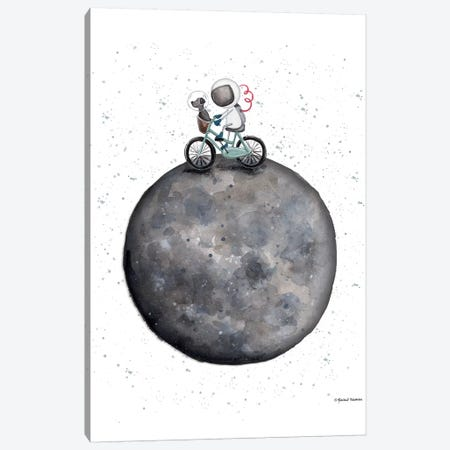 Bike on Moon Canvas Print #RNI33} by Rachel Nieman Canvas Art