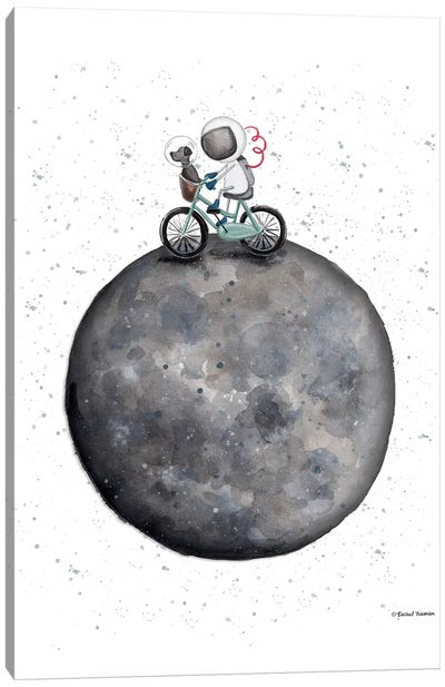 Bike on Moon Canvas Art Print