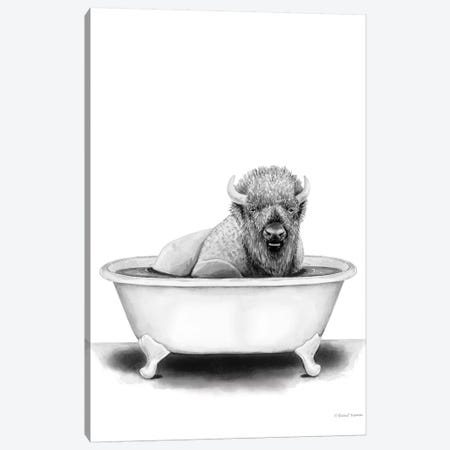 Bison in Tub Canvas Print #RNI34} by Rachel Nieman Art Print
