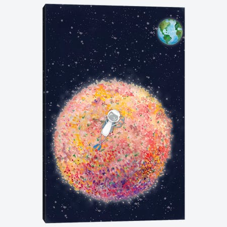 Chillin on Moon Canvas Print #RNI35} by Rachel Nieman Art Print
