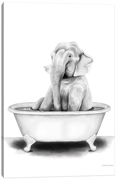 Elephant in Tub Canvas Art Print