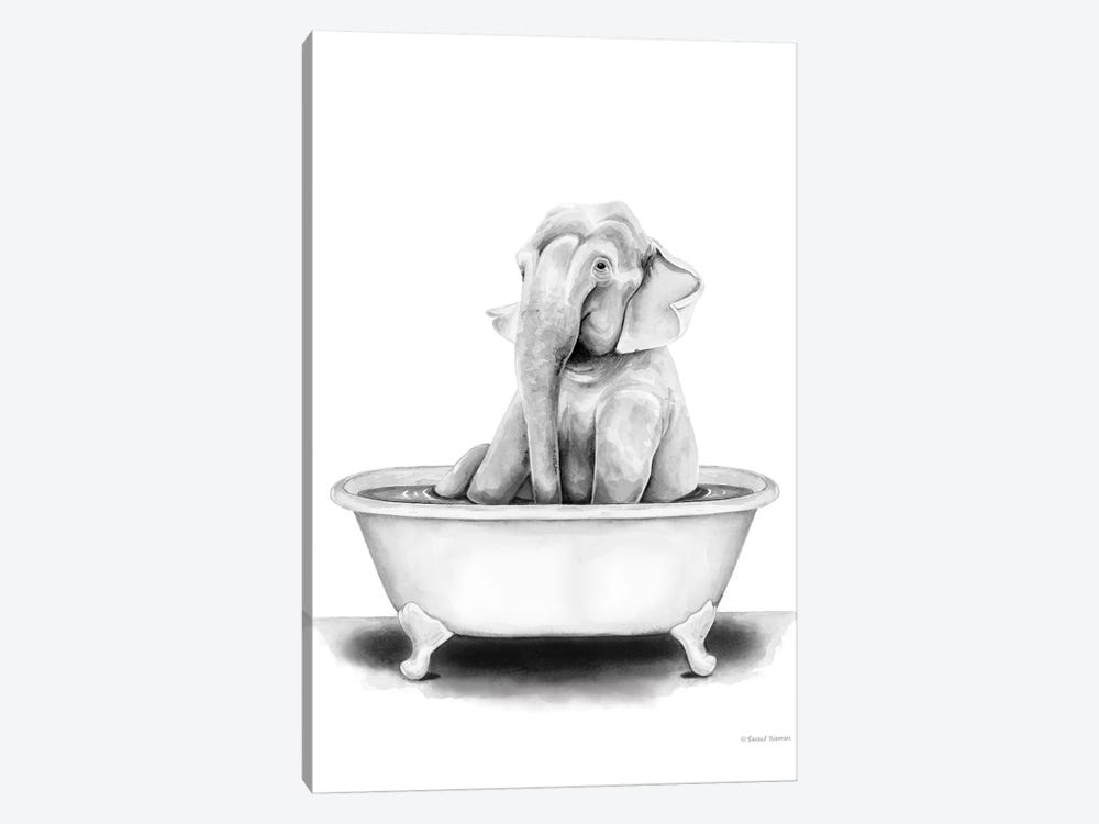 Elephant in Tub by Rachel Nieman 1-piece Art Print