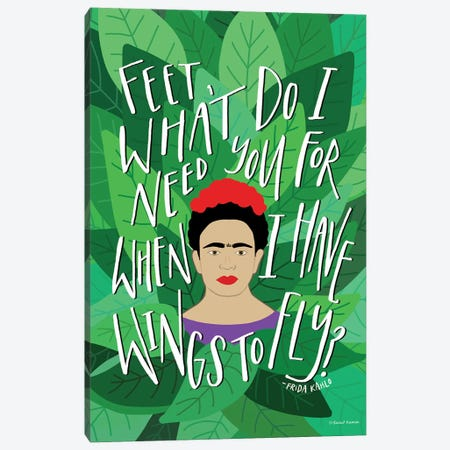 Frida - Wings to Fly Canvas Print #RNI37} by Rachel Nieman Canvas Print