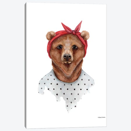 Bear In Bandana Canvas Print #RNI3} by Rachel Nieman Canvas Artwork