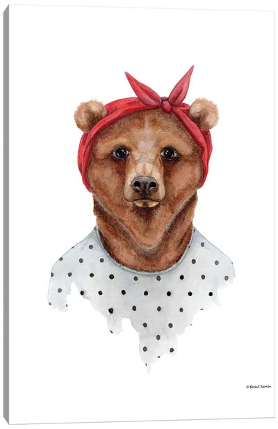 Bear In Bandana Canvas Art Print