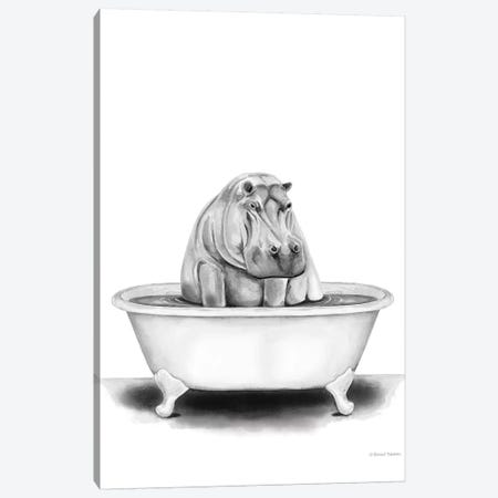 Hippo in Tub Canvas Print #RNI40} by Rachel Nieman Canvas Art Print