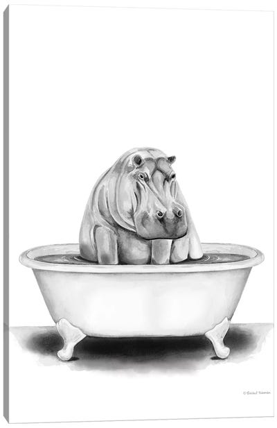 Hippo in Tub Canvas Art Print