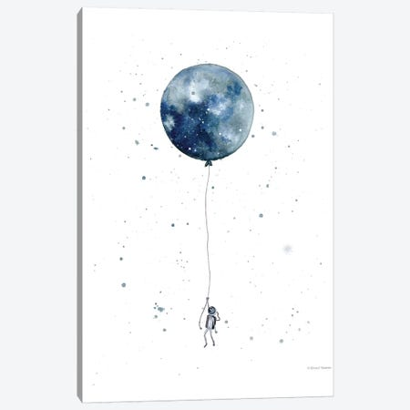 Moon Balloon Canvas Print #RNI41} by Rachel Nieman Art Print