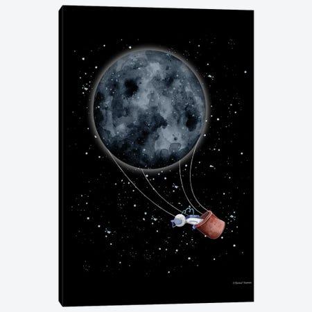 Moon Hot Air Balloon Canvas Print #RNI42} by Rachel Nieman Canvas Print