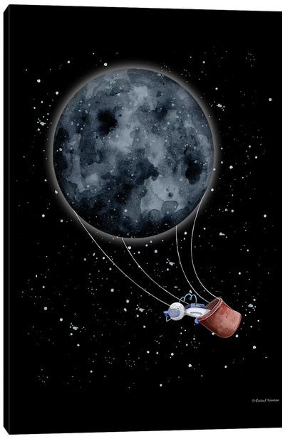 Moon Hot Air Balloon Canvas Art Print