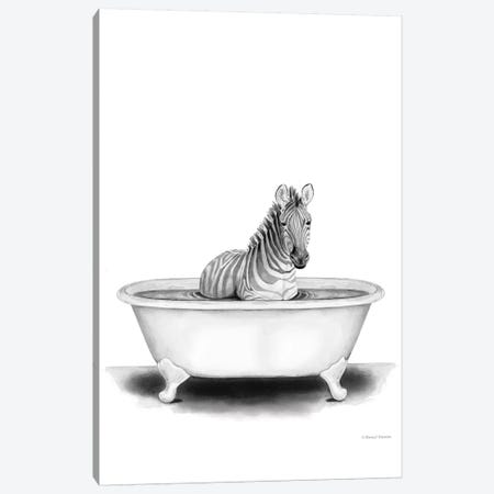 Zebra in Tub Canvas Print #RNI47} by Rachel Nieman Canvas Wall Art