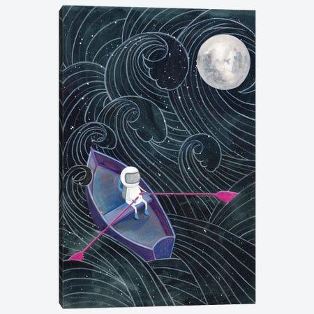 Boat to the Moon Canvas Print #RNI59} by Rachel Nieman Canvas Artwork