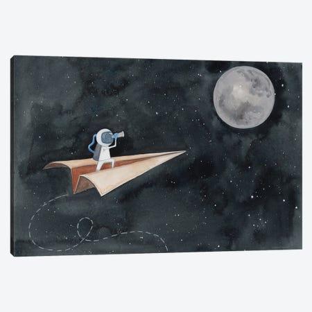 Paper Airplane to the Moon Canvas Print #RNI63} by Rachel Nieman Canvas Art Print