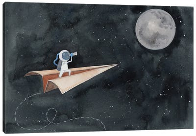 Paper Airplane to the Moon Canvas Art Print