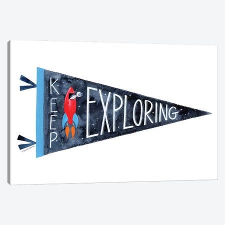 Keep Exploring Pennant Canvas Print #RNI68} by Rachel Nieman Art Print